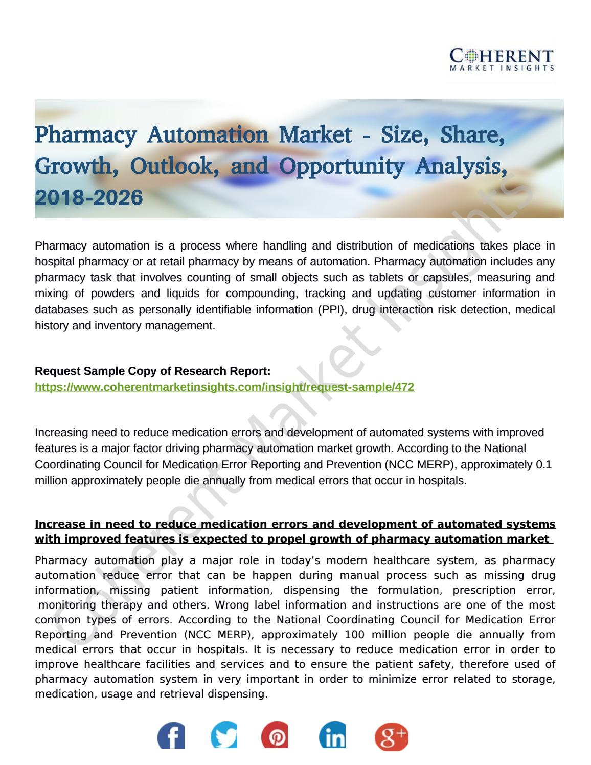 Pharmacy Automation Market Foreseen to Grow Exponentially