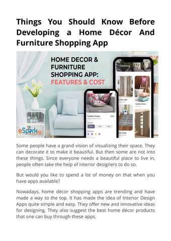 Home Décor Furniture Shopping App Its Features And Cost