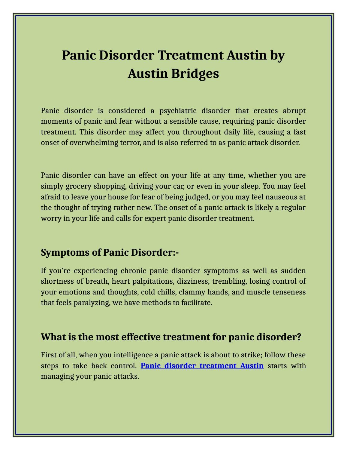 Panic Disorder Treatment Austin by Austin Bridges by Austin