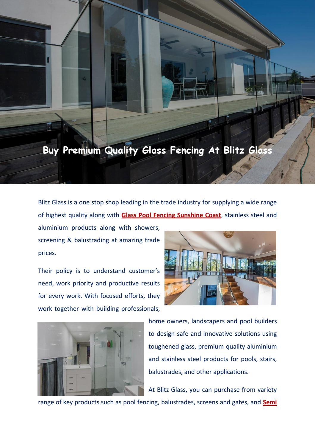 Glass Pool Fencing Sunshine Coast Blitzglass By Blitz Glass Issuu