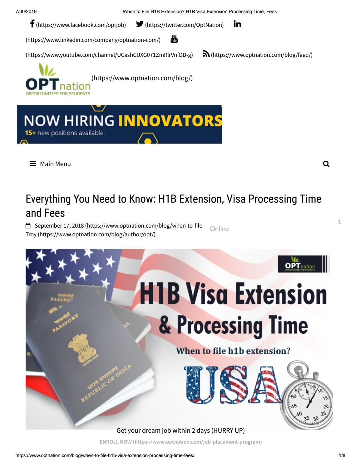 H1b Extension Processing Time 2019 - OPTnation by