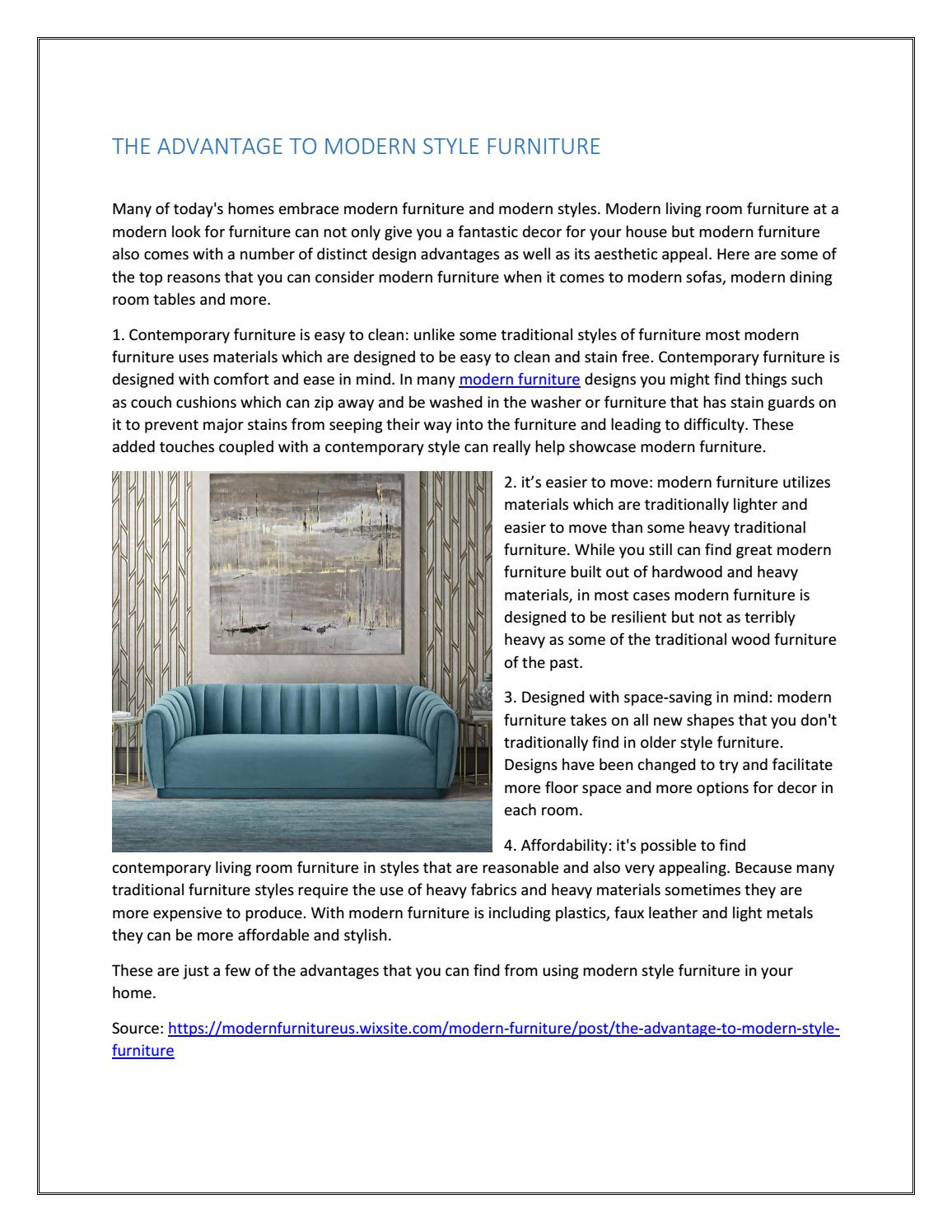 THE ADVANTAGE TO MODERN STYLE FURNITURE by ModTempo - issuu