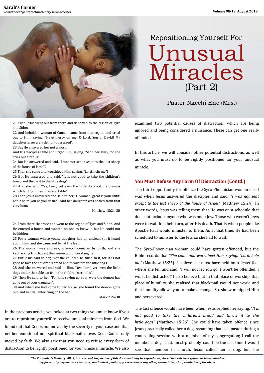 Repositioning Yourself To Receive An Unusual Miracle (Part 2