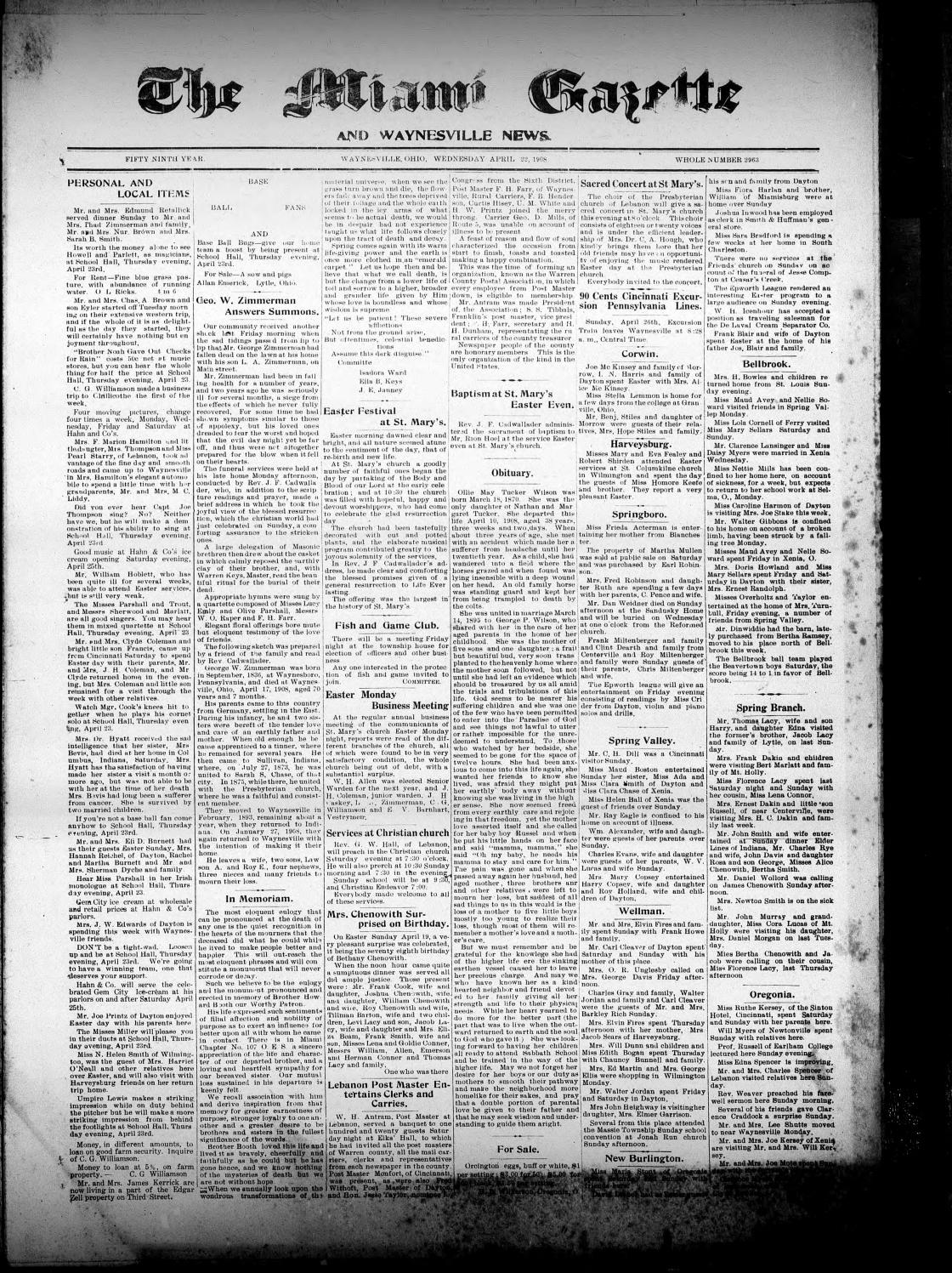 Miami Gazette April 22 1908 October 14 1908 by marylcook