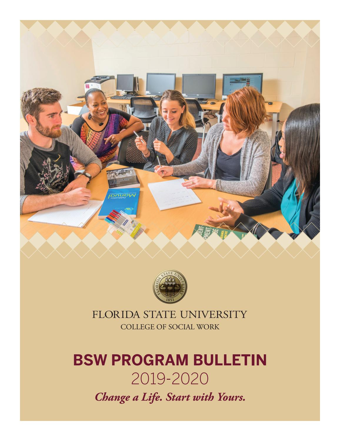 Fsu Spring Break 2020.Bsw Program Bulletin 2019 2020 By Fsucsw Issuu
