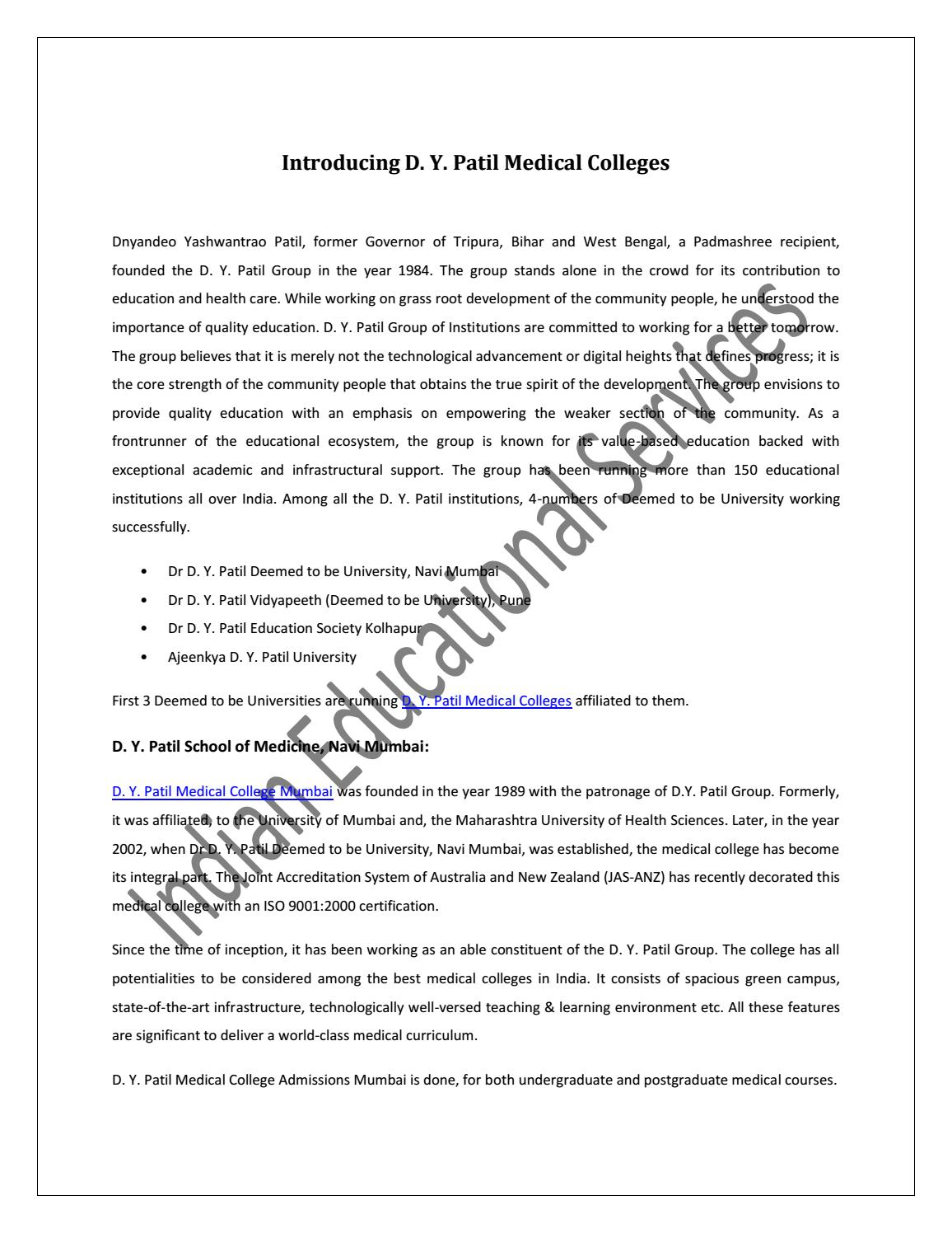 Introducing D  Y  Patil Medical Colleges by iesonline - issuu