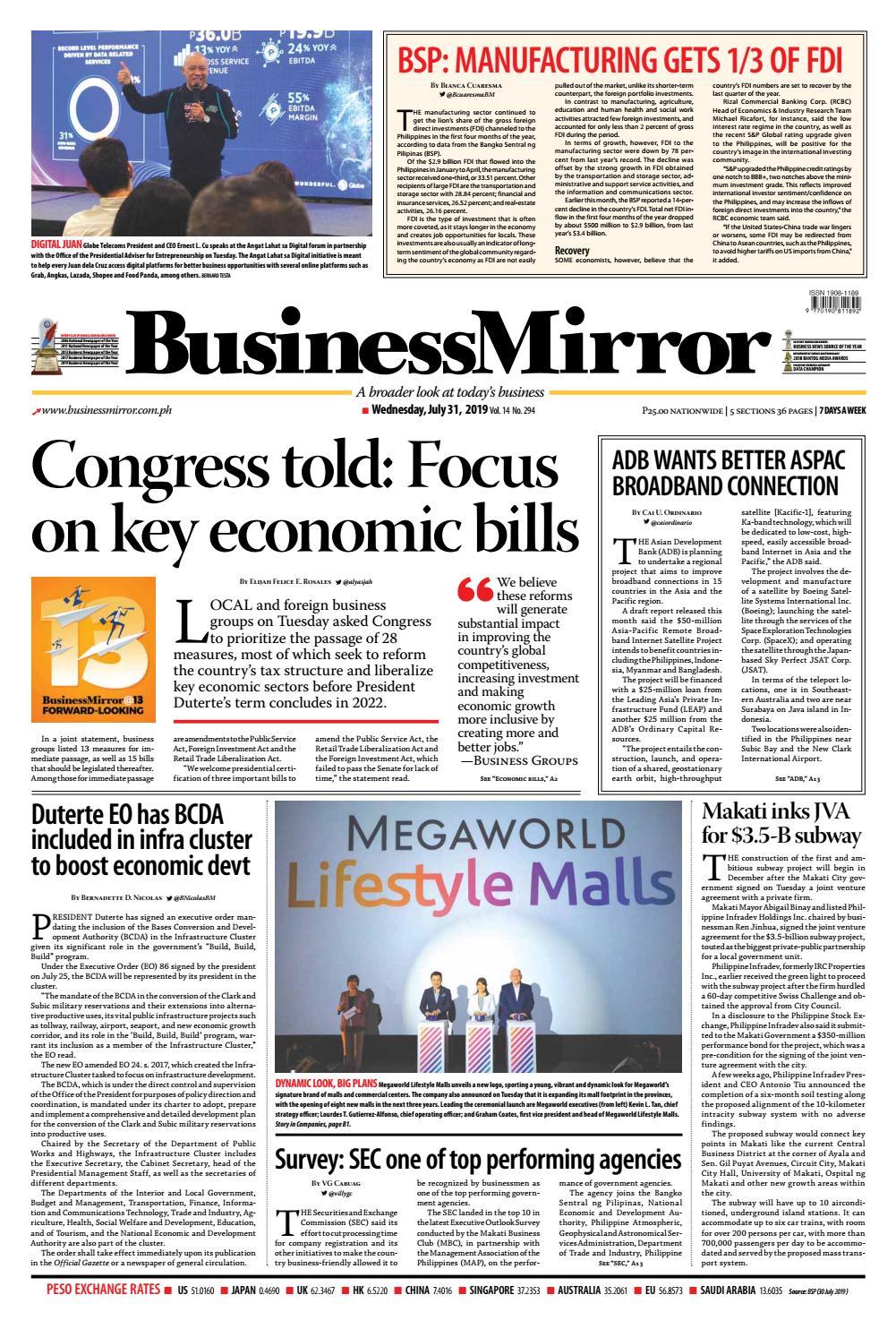 BusinessMirror July 31, 2019 by BusinessMirror - issuu