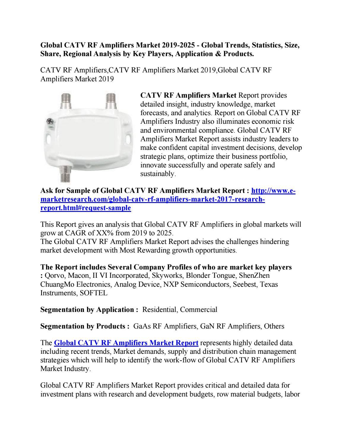 Global CATV RF Amplifiers Market 2019-2025 - Global Trends