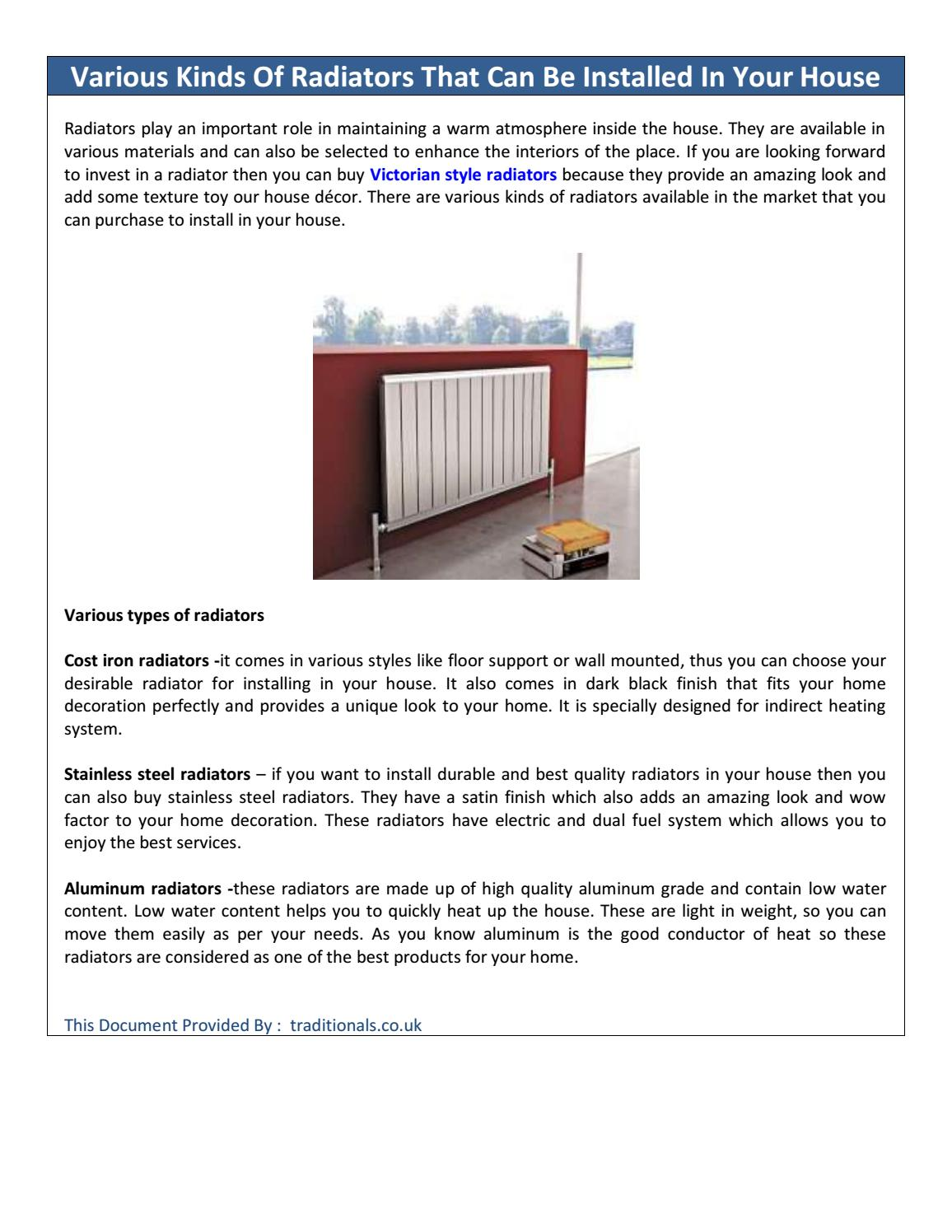 Various Kinds Of Radiators That Can Be Installed In Your House By Redgreenblue17 Issuu