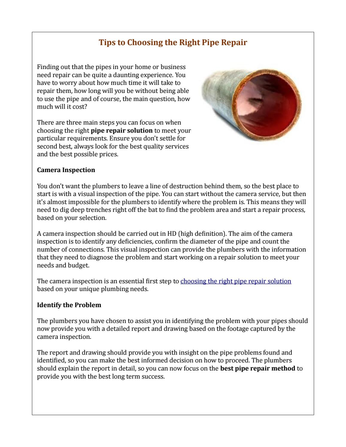 Tips To Choosing The Right Pipe Repair By Nu Flow Tech Issuu
