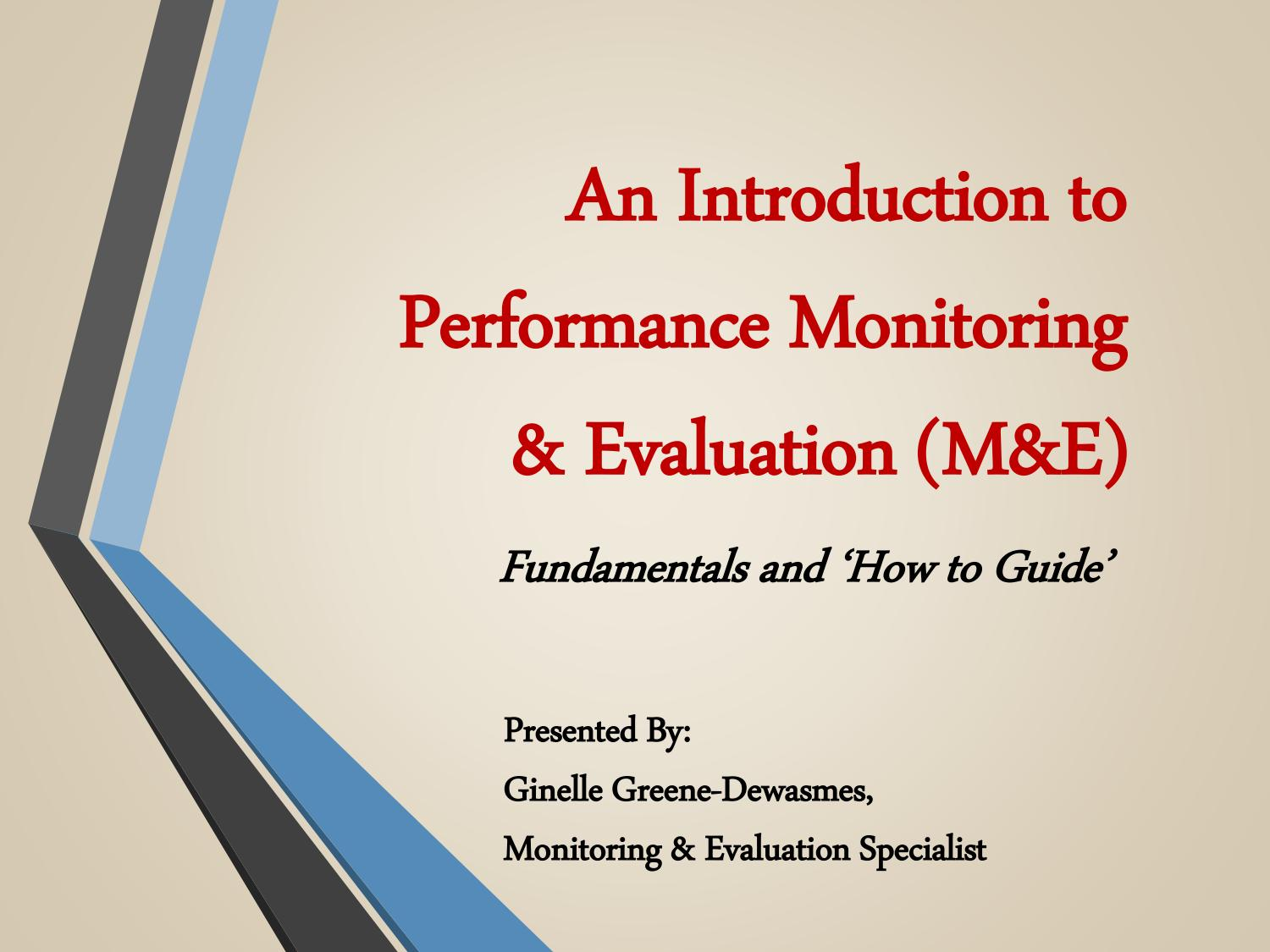 An Introduction to Performance Monitoring & Evaluation by Ginelle In Monitoring And Evaluation Report Template