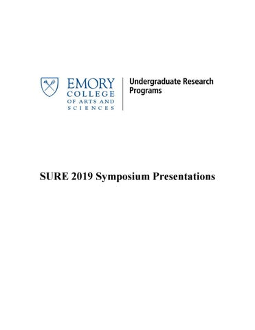 Summer 2019 Undergraduate Research Symposium By Emory