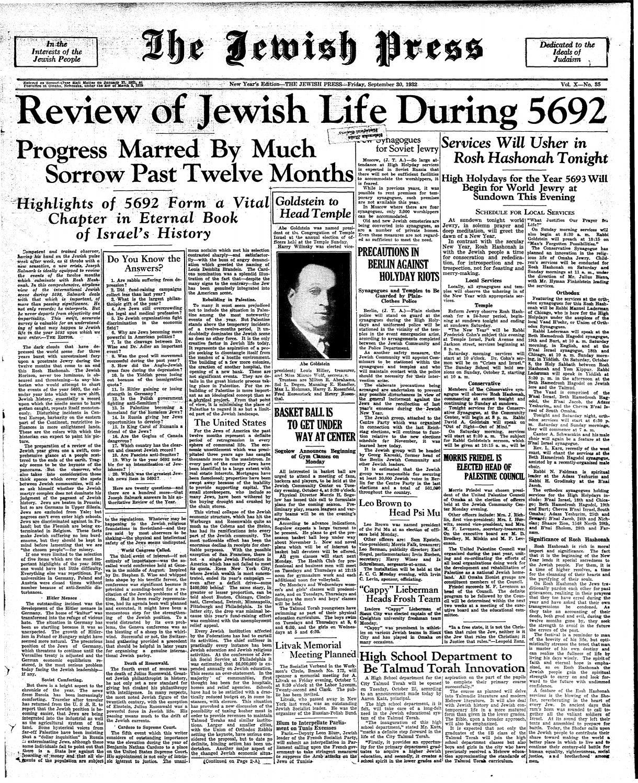 September 30, 1932: Rosh Hashanah Edition by Jewish Press