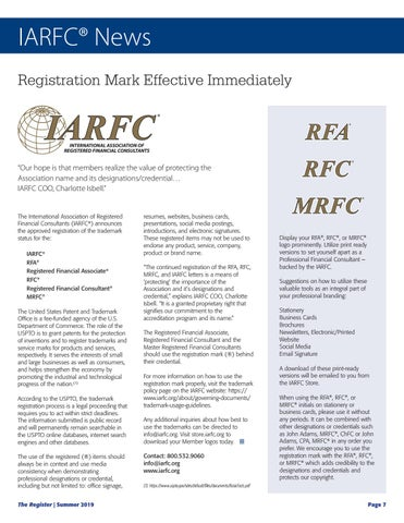 Page 9 of Registration Mark Effective Immediately