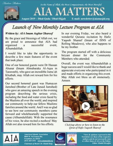 Aia Matters Monthly Enewsletter August 2019 Issue By