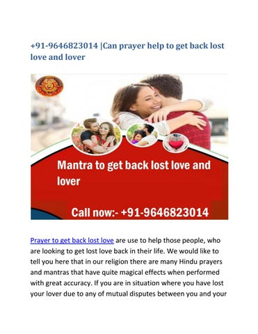 91-9646823014 |Can prayer help to get back lost love and