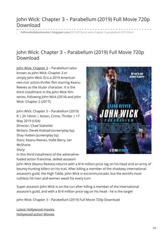 John Wick Chapter 3 Parabellum 2019 Full Movie 720p Download