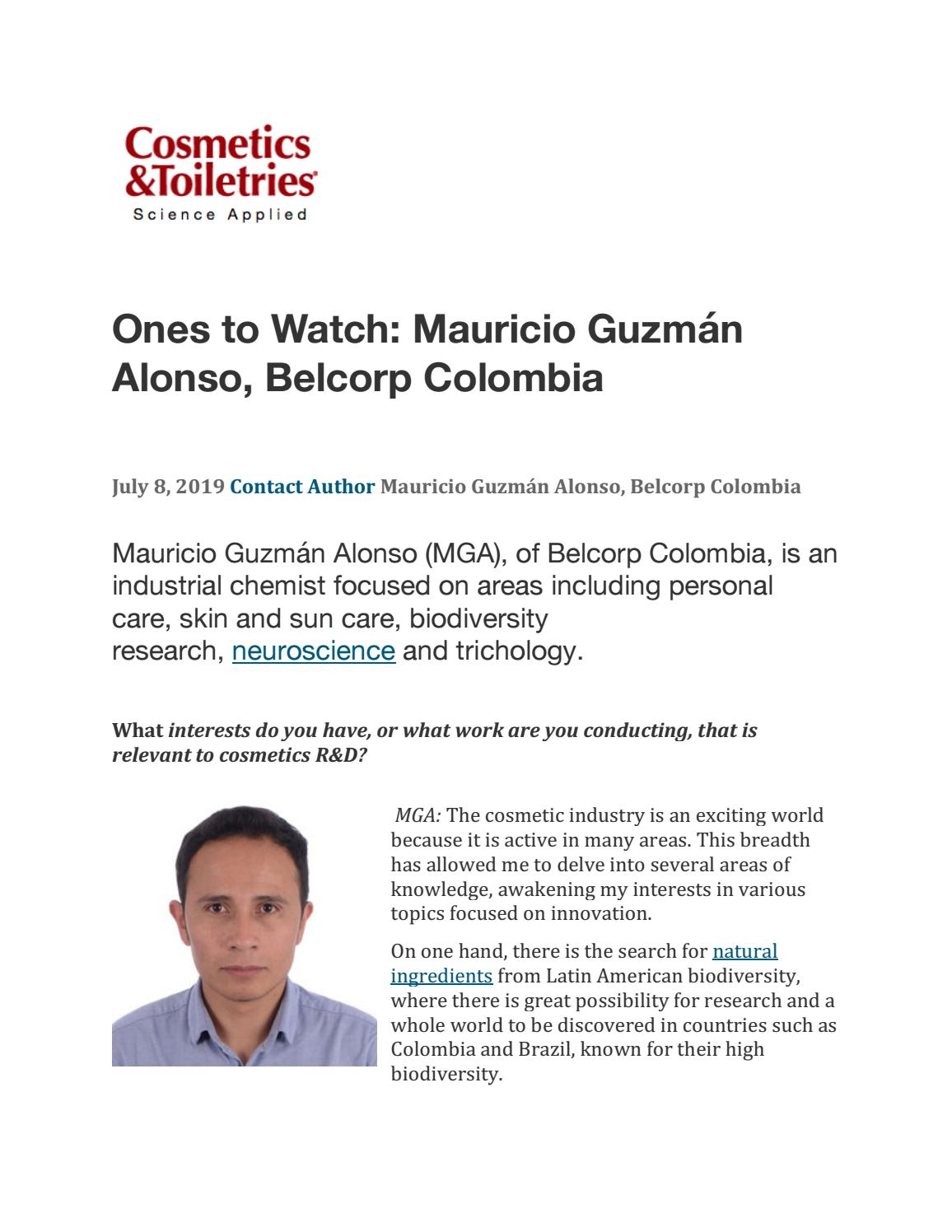 Cosmetics & Toiletries - Ones to Watch: Mauricio Guzmán