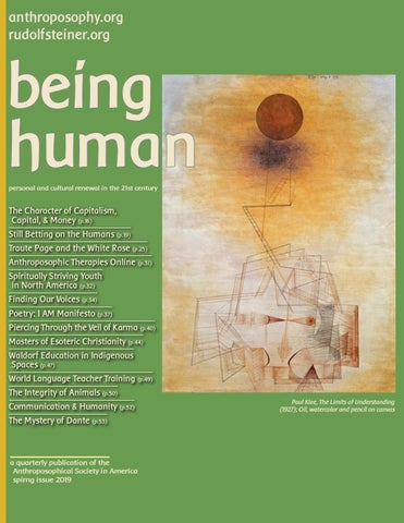 being human spring issue 2019 by Anthroposophical Society in