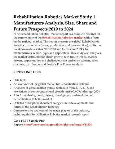 Rehabilitation Robotics Market Study | Manufacturers Analysis, Size, Share  and Future Prospects 2019