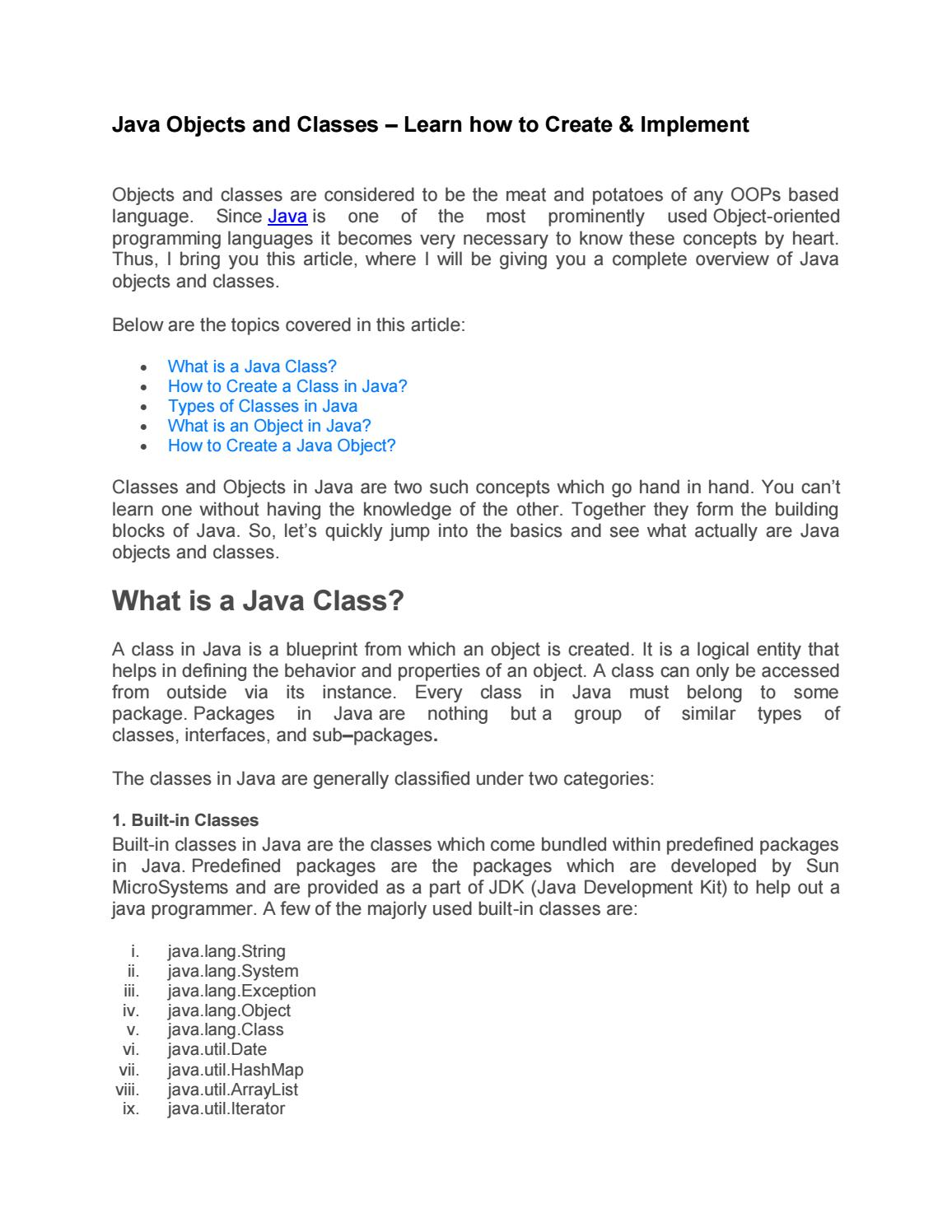 Java Objects and Classes – Learn how to Create & Implement