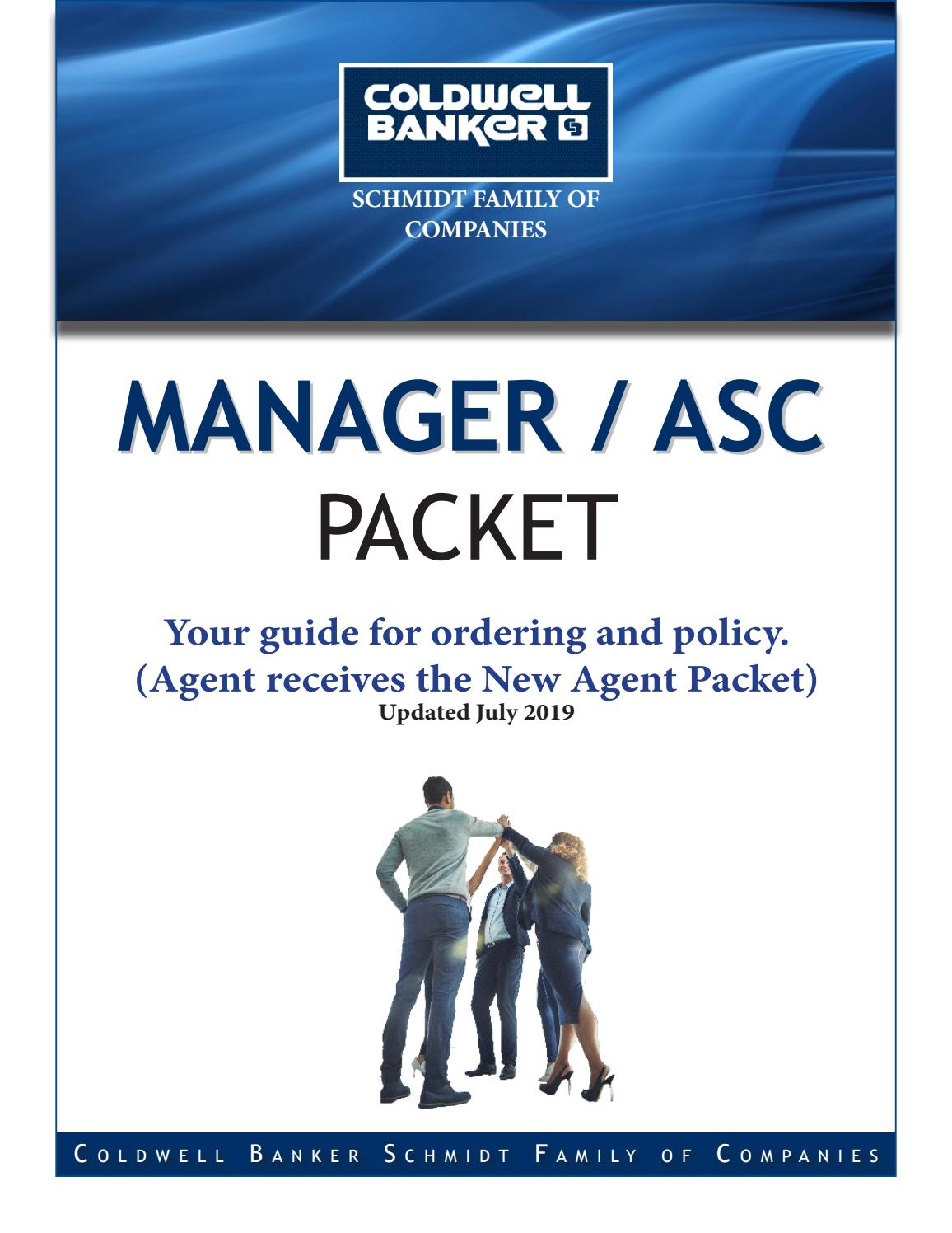 Manager/ASC guide: New Agent Packet - Updated December 21 by For Coldwell Banker Business Card Template