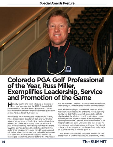 Page 14 of Miller Named 2019 Colorado PGA Golf Professional of the Year