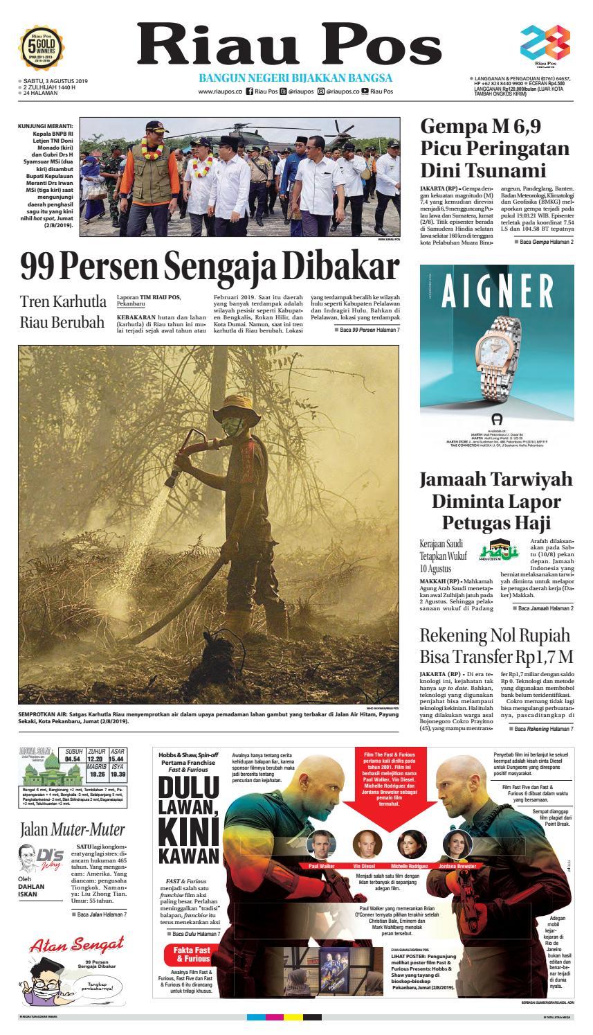 Riau Pos Edisi Sabtu 03 Agustus 2019 By Riau Pos Issuu