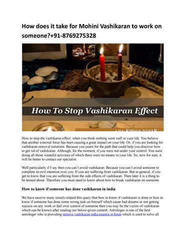 How does it take for Mohini Vashikaran to work on someone?+