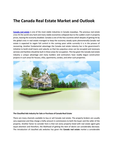 The Canada Real Estate Market and Outlook by catchfree - issuu