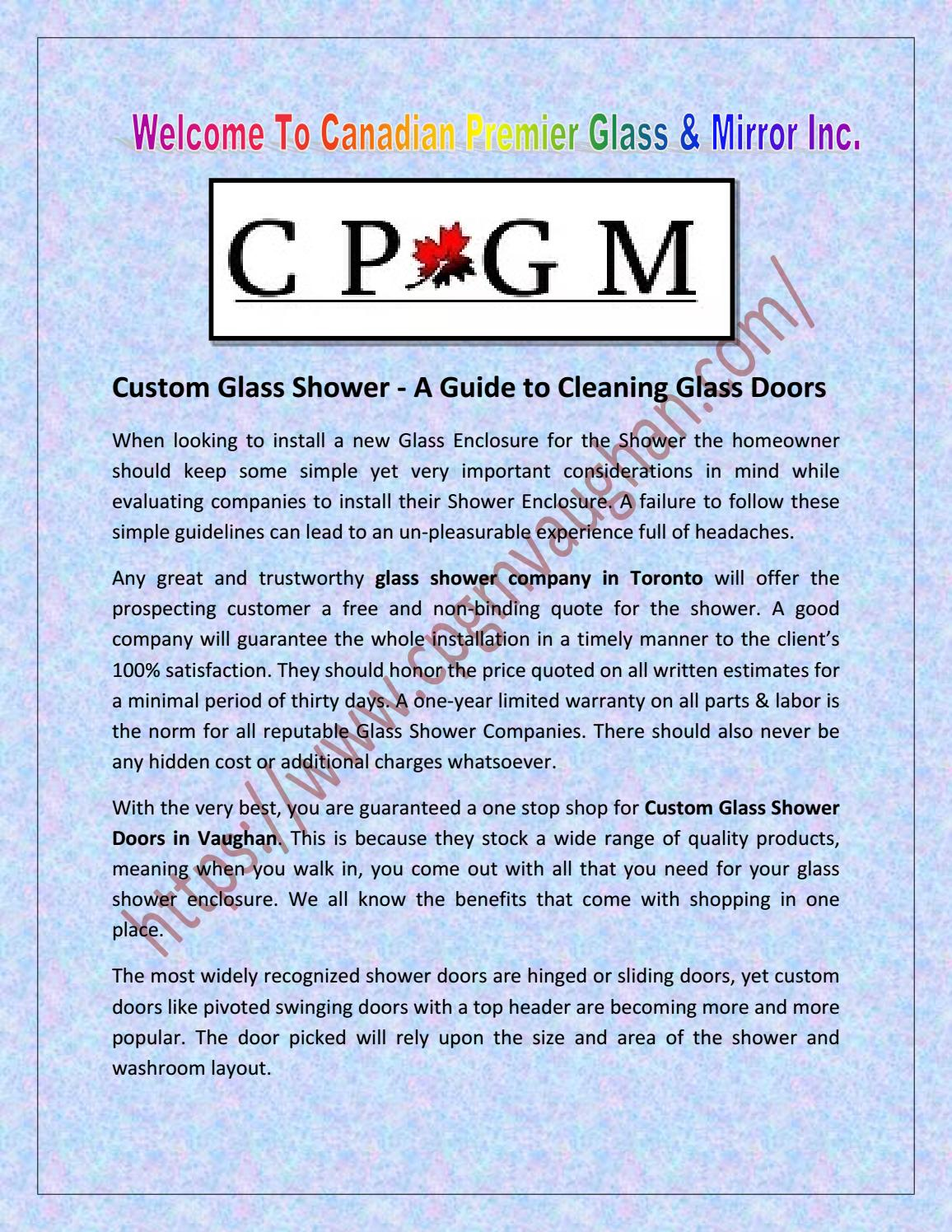 Custom Glass Shower A Guide To Cleaning Glass Doors By