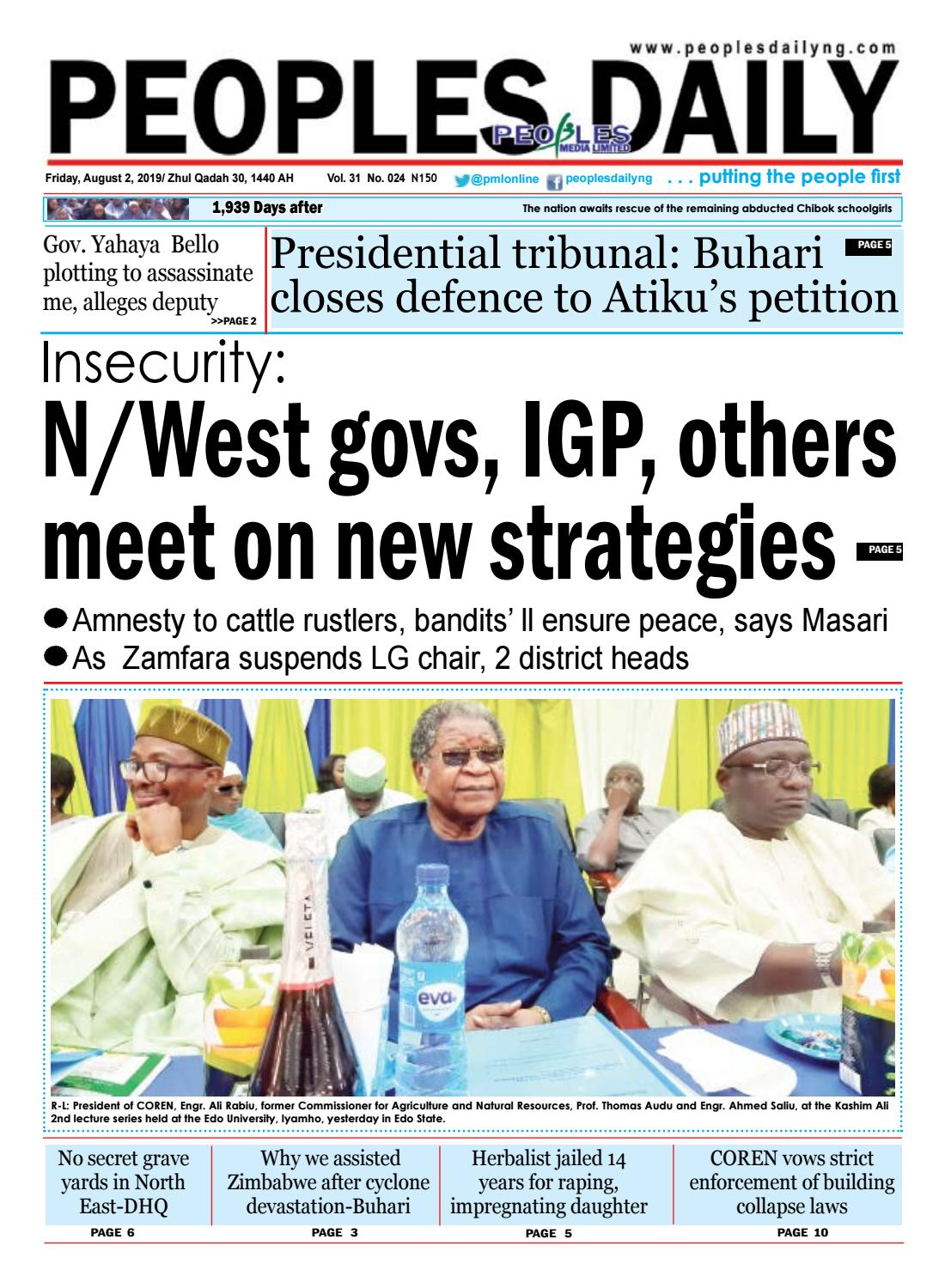 Friday, August 2, 2019 Edition by Peoples Media Limited - issuu