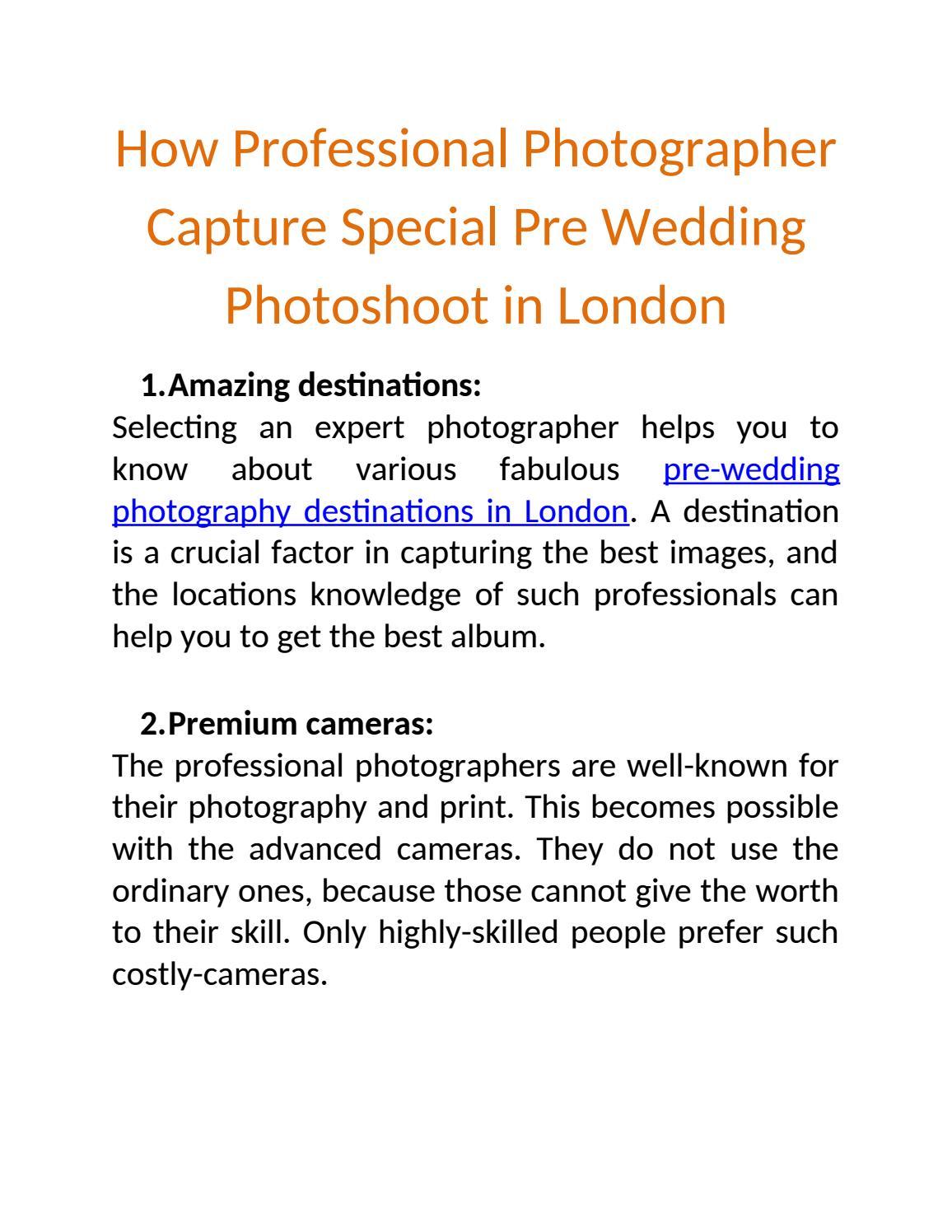 How Professional Photographer Capture Special Pre Wedding