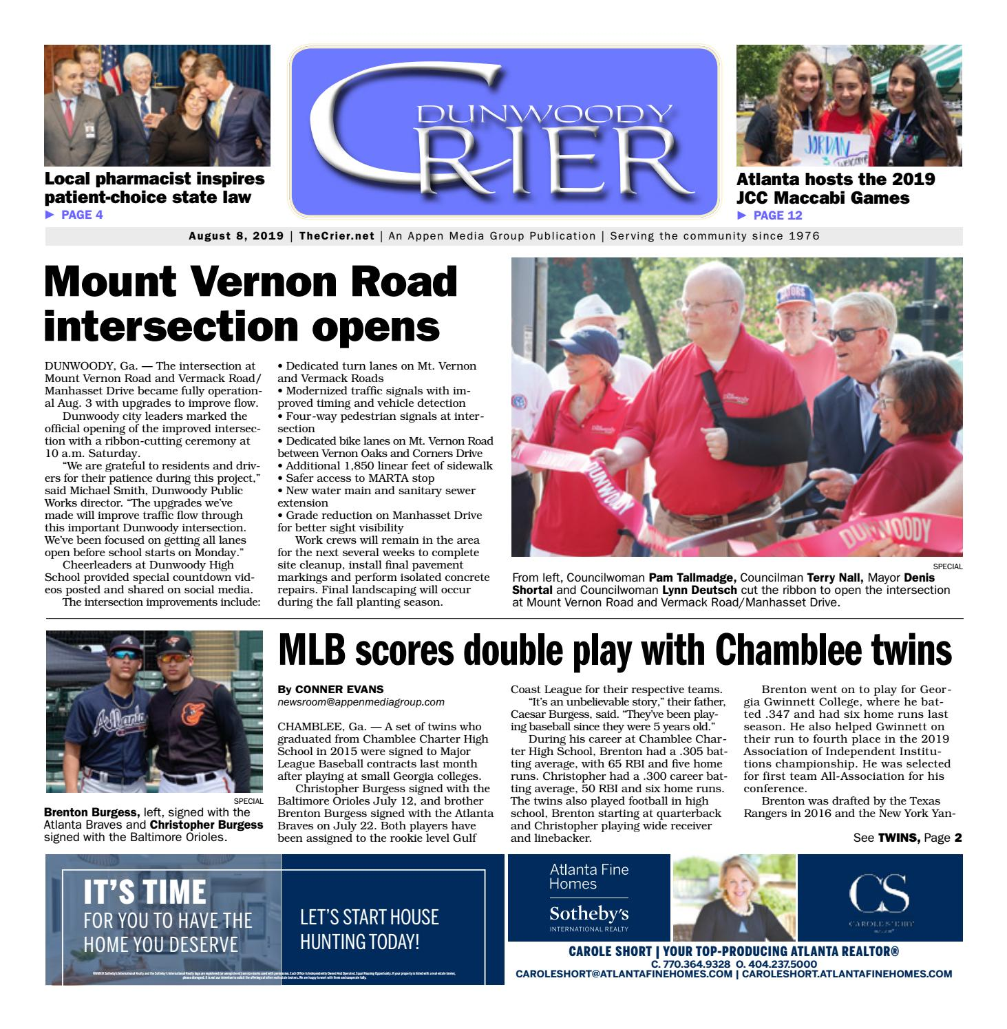 Dunwoody Crier — August 8, 2019 by Appen Media Group - issuu