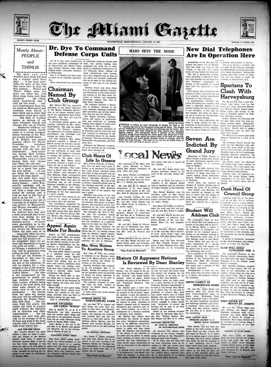 Miami Gazette January 15 1942 October 1 1942 By