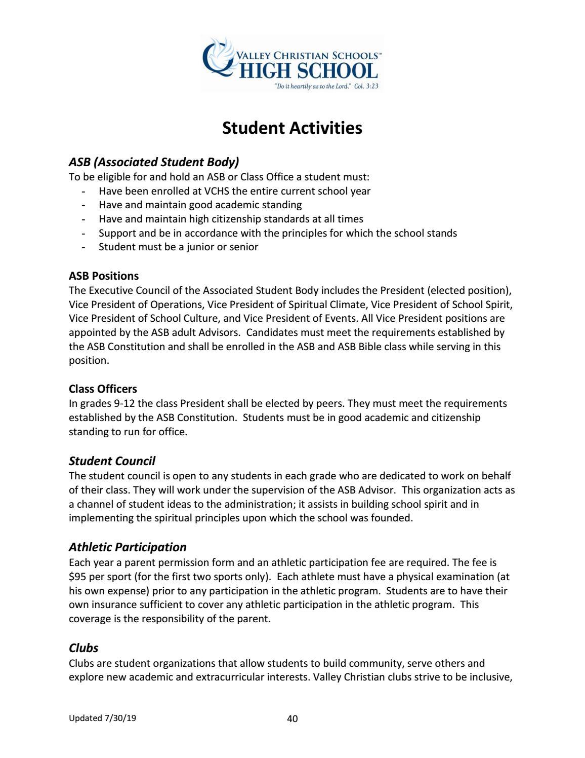 Valley Christian High School Student Handbook by Valley