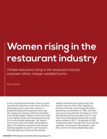 Page 14 of Women rising in the restaurant industry