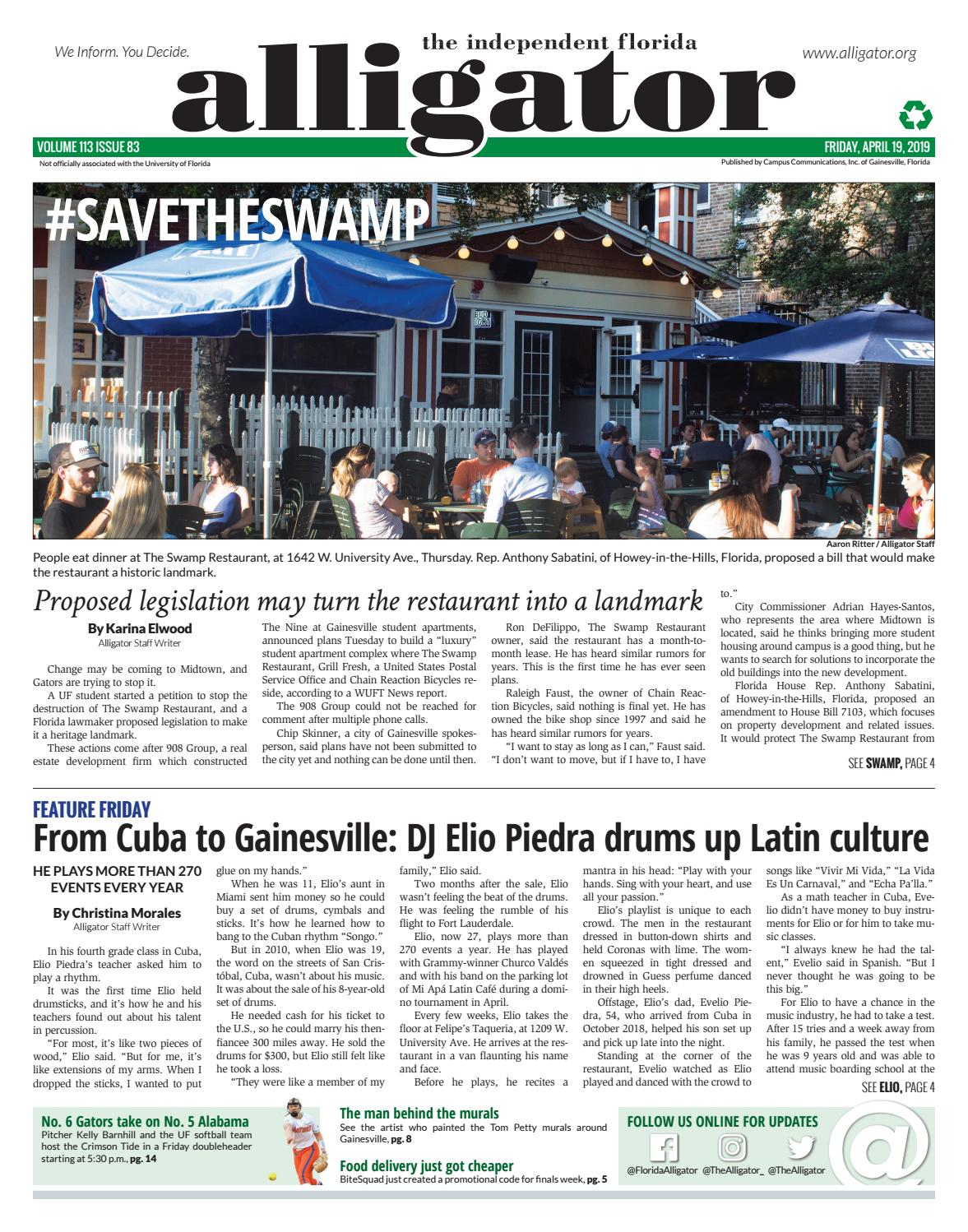 April 19, 2019 by The Independent Florida Alligator - issuu