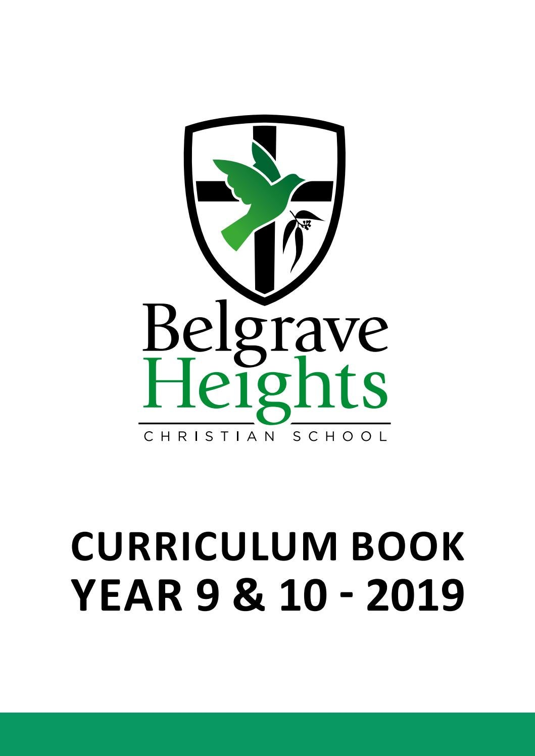 Year 9/10 Curriculum Book by Belgrave Heights Christian