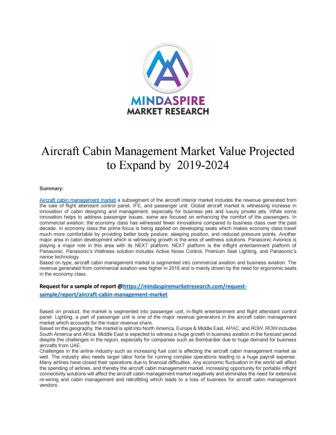 Aircraft Cabin Management Market Value Projected To Expand
