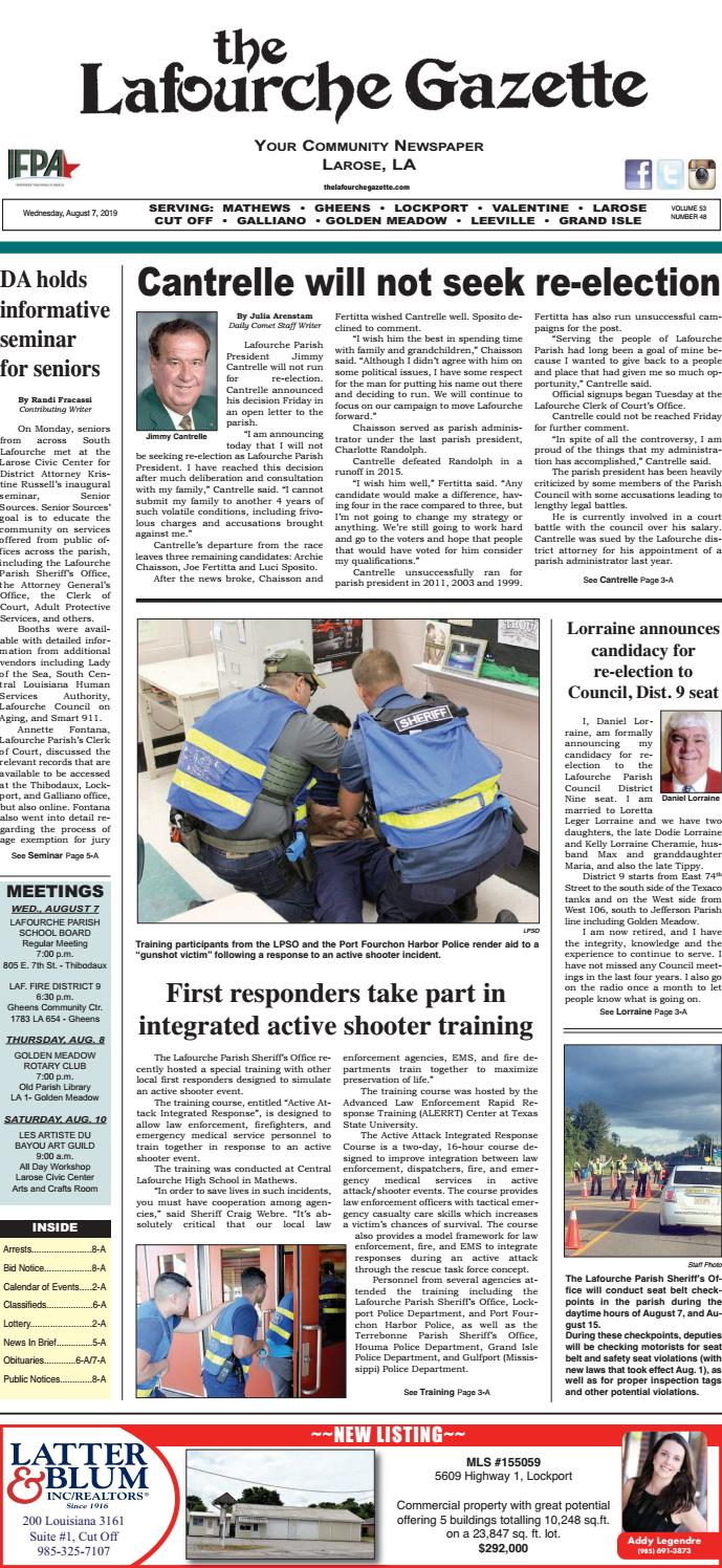 Wednesday, August 7, 2019 THE LAFOURCHE GAZETTE by The