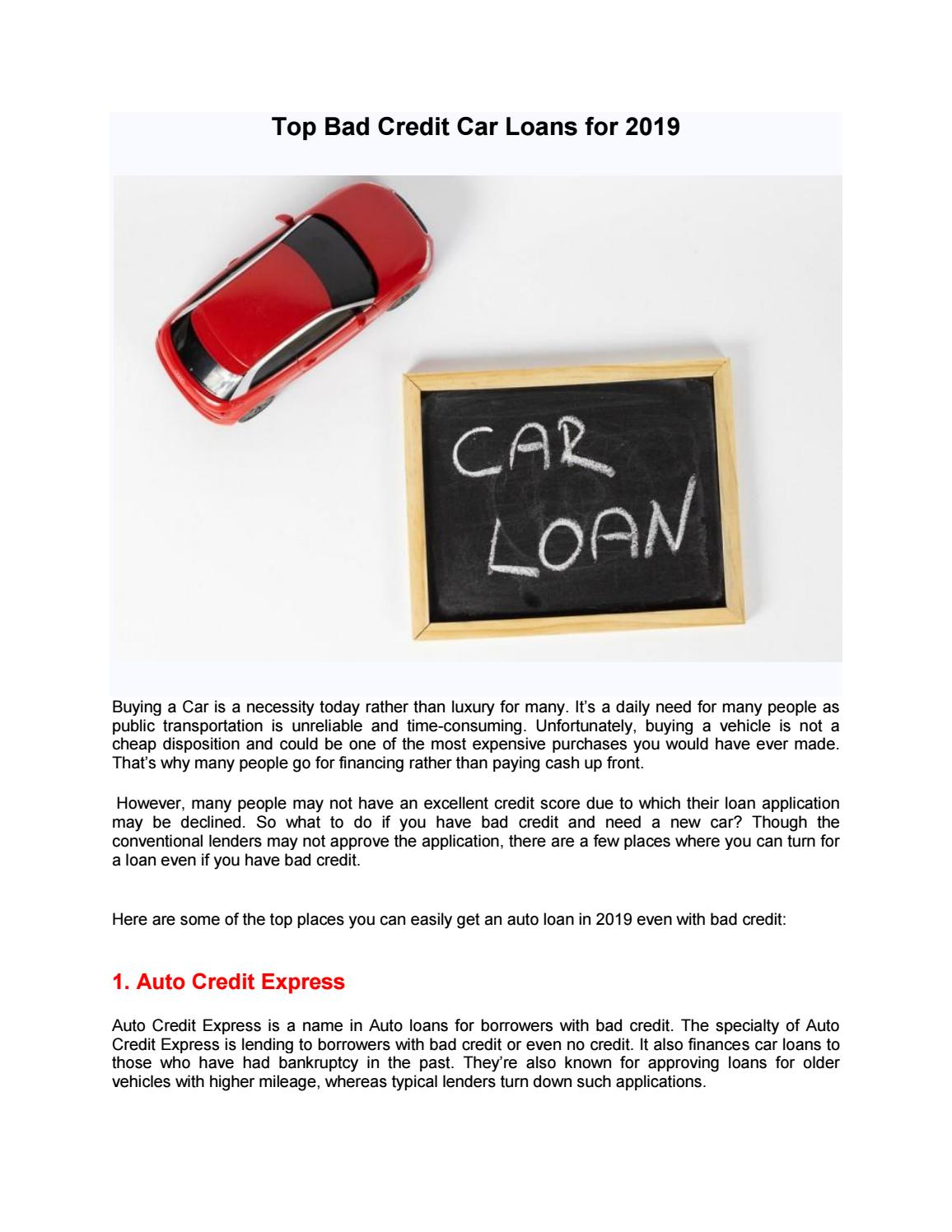 Auto Credit Express >> Top Bad Credit Car Loans For 2019 By Ownacarfresno Issuu