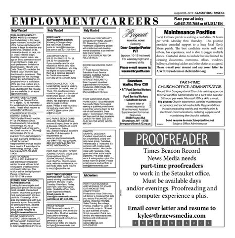 Employment/Careers - August 8, 2019 by TBR News Media - issuu