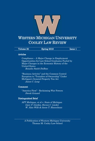 Western Michigan University Cooley Law Review - Volume 35