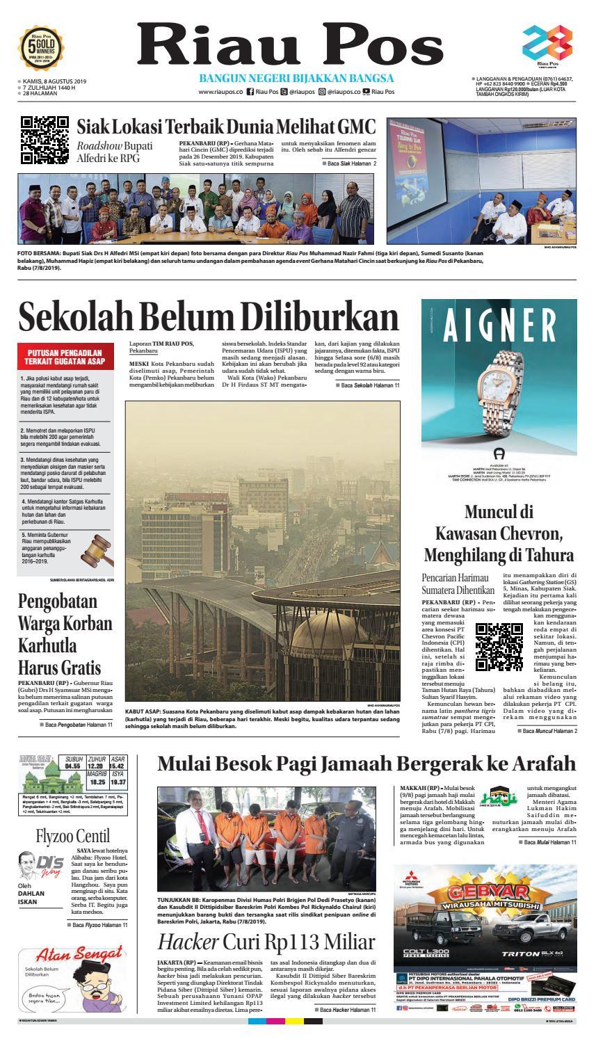 Riau Pos Edisi 08 Agustus 2019 By Riau Pos Issuu