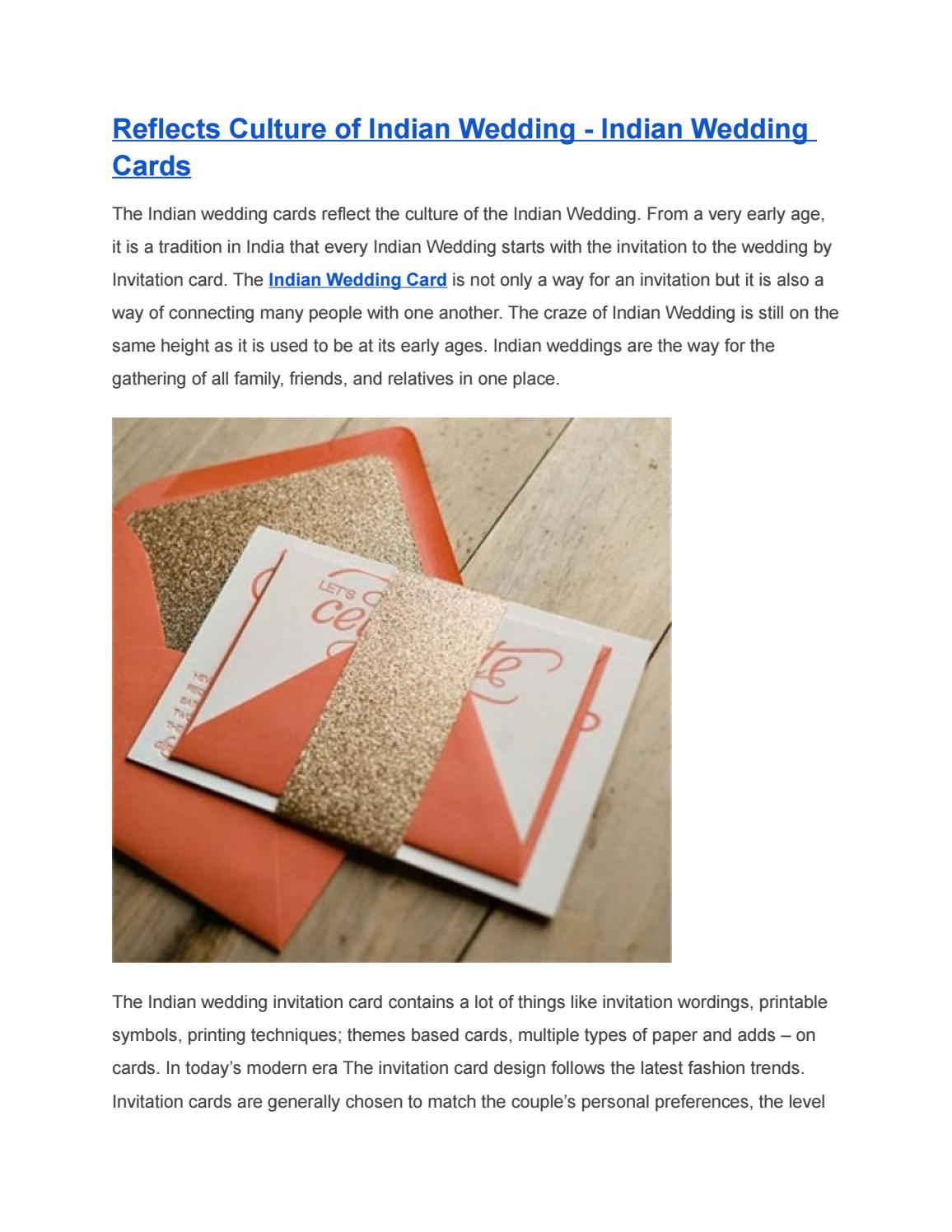 Reflects Culture Of Indian Wedding Indian Wedding Cards By Theweddingcardsonline Issuu