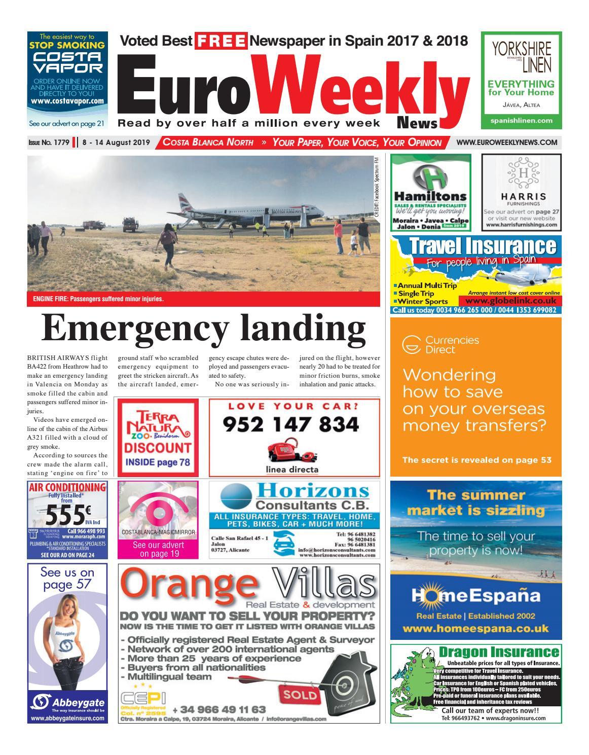 Euro Weekly News - Costa Blanca North 8 - 14 August 2019
