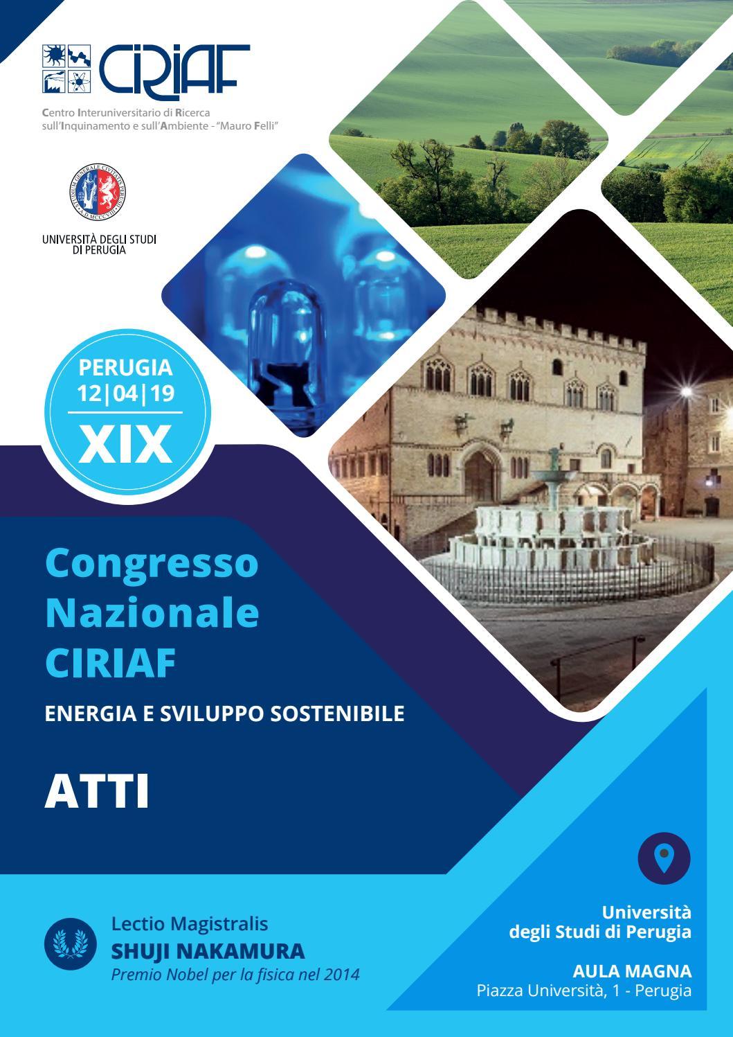 Xix Congresso Nazionale Ciriaf Energia E Sviluppo Sostenibile Atti Perugia 12 Aprile 2019 By Morlacchi Editore Srl Issuu