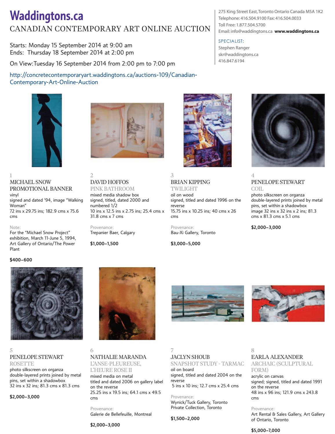Canadian Contemporary Art Online Auction Sept 15 18 2014 By Waddingtons Issuu