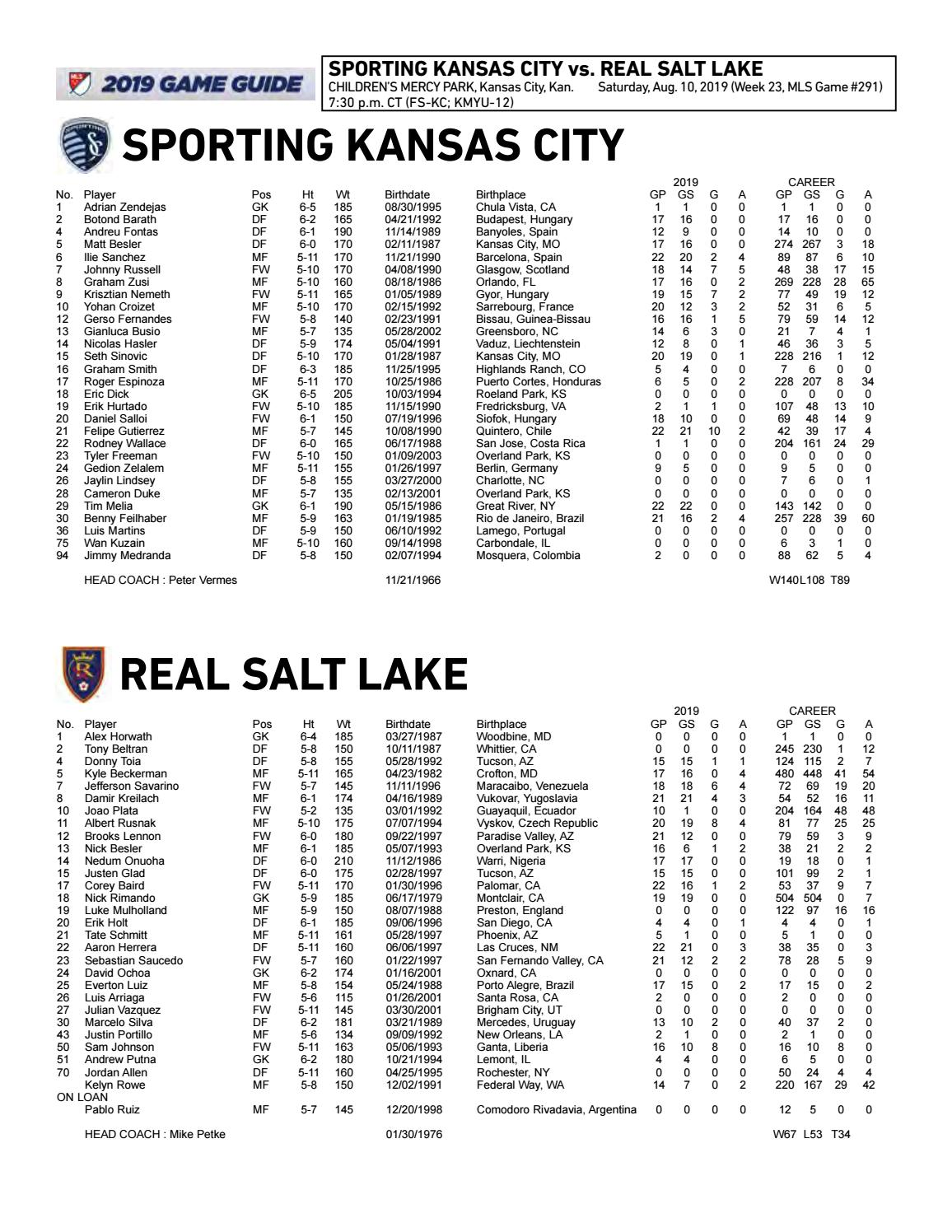 Match Notes: Sporting vs  Real Salt Lake | Aug  10, 2019 by